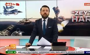 L'animateur turc Ahmet Keser, sur la chaîne Akit TV.