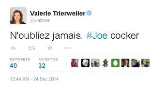 Le tweet de Valérie Trierweiler en hommage au chanteur Joe Cocker.