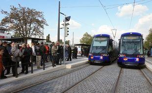 Lors de l'inauguration de la première station du tram transfrontalier entre Strasbourg et Kehl en Allemagne, en avril 2017. Illustration