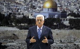 Mahmoud Abbas, président de la Palestine le 26 mars 2015 devant Jerusalem.