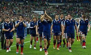 L'équipe de France de rugby après le match contre l'Irlande le 15 mars 2014.