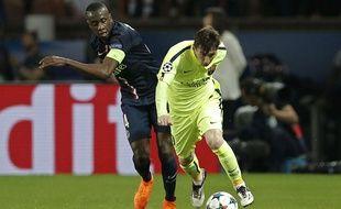 Blaise Matuidi au duel avec Lionel Messi lors de PSG-Barça le 15 avril 2015.