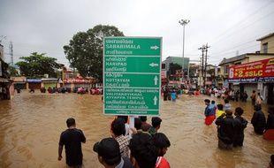 A Pandalam, le 17 août 2018 dans le Kerala où les pluies torrentielles depuis le 8 août ont fait 357 morts dans cette région touristique de l'Inde.