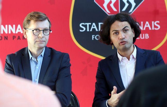 Le directeur des services du Stade Rennais Olivier Tomine et le directeur d'Orange Ouest Pierre Jacobs, au Roazhon Park, le 22 novembre 2017.
