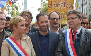 Clémentine Autain, députée France insoumise venue du Parti communiste, Benoit Hamon, de Générations, et Jean-Luc Mélenchon.