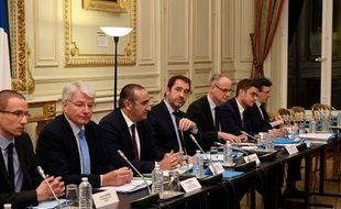 Des discussions entre syndicats de police et le ministre de l'Intérieur, place Beauvau, le 18 décembre 2018.