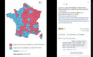 Cette carte est présentée sur les réseaux sociaux comme celle du déconfinement en France à partir du 11 mai.