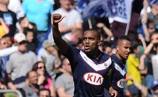 Le joueur des Girondins de Bordeaux Nicolas Maurice-Belay fête son but face à Lens le 5 avril 2015.