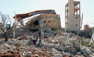 Un bâtiment abritant un hôpital soutenu par Médecins sans frontières (MSF), le 15 février 2016 à  Maaret al-Noomane en Syrie