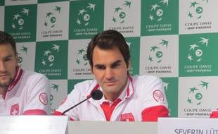 Roger Federer lors de la conférence de presse mardi au stade Pierre-Mauroy