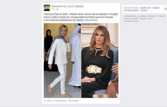 Un post comparant les tenues de Brigitte Macron et de Melania Trump.