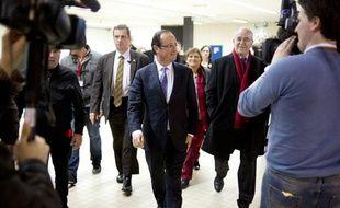 François Hollande, lors d'un déplacement à Brest, le 30 janvier 2012.