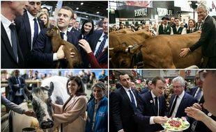 Emmanuel Macron, Laurent Wauquiez et Anne Hidalgo au Salon de l'agriculture 2019.