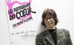 Veronique Colucci, le 21 novembre 2017 lors du lancement de la 33e campagne d'hiver des Restos du Coeur au centre de la Grange aux Belles à Paris.