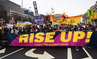 """Lors de la """"Marche des fammes"""" 2020, à Washington, le 18 janvier."""