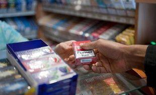 Illustration vente de cigarettes, tabac.