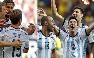 Des joueurs allemands et argentins après leurs deux victoires en demi-finales du Mondial 2014.