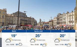Météo Bordeaux: Prévisions du mercredi 14 août 2019