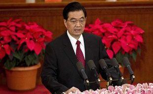 Le président chinois Hu Jintao à la tribune lors de la cérémonie des 90 ans du Parti communiste chinois, le 1 juillet 2011 à Beijing (Chine).
