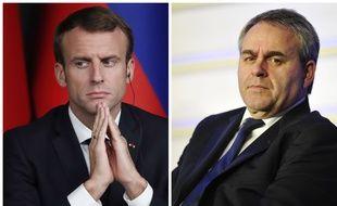 Le président de la République Emmanuel Macron répond aux critiques du président de la région Hauts-de-France Xavier Bertrand. (Photomontage)