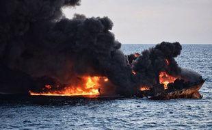 Le pétrolier iranien accidenté le 14 janvier 2018.