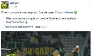 Le post du Brésilien Adryan.