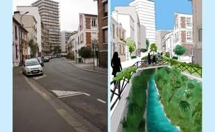 La rue Brillat-Savarin aujourd'hui et dans le cadre du projet des Verts de découvrir la Bièvre (évidemment il fait beau).