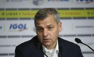 Bruno Genesio, l'entraîneur de l'Olympique Lyonnais, en conférence de presse, le 10 octobre 2017.