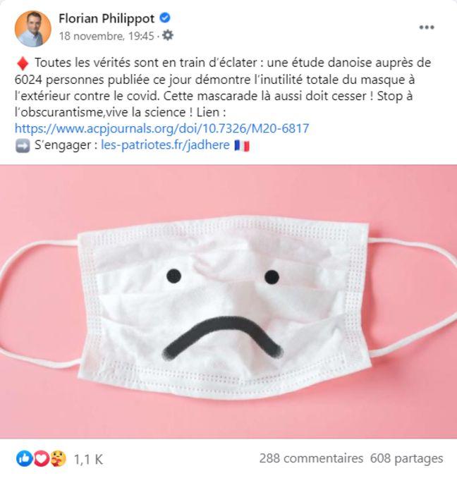 Dans une publication Facebook, le chef des Patriotes, Florian Philippot, partage une étude qui démontrerait