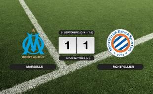 Ligue 1, 6ème journée: Match nul entre l'OM et Montpellier sur le score de 1-1