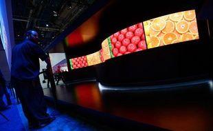 Des téléviseurs 4K incurvés présentés au CES de Las Vegas en janvier 2014.