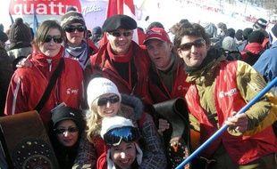 Les cousins et supporters de Jean-Baptiste Grange, lors du géant des championnats du monde de Val d'Isère, le 12 février 2009.