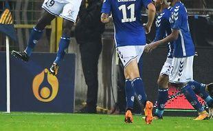 Stéphane Bahoken, buteur lors de la victoire du RCS contre l'ASSE en Coupe de la Ligue