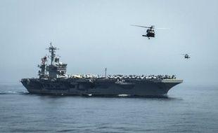 Un porte-avion américain dans le golfe d'Oman (photo illustration).