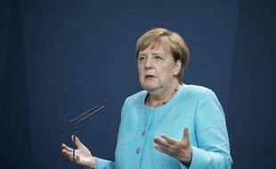 Angela Merkel, le 19 août 2020 à Berlin, après un Conseil européen virtuel.
