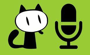 Le Fauve (la mascotte du festival d'Angoulême) et un microphone