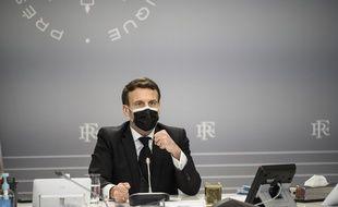 Emmanuel Macron lors d'une réunion au palais de l'Elysée.
