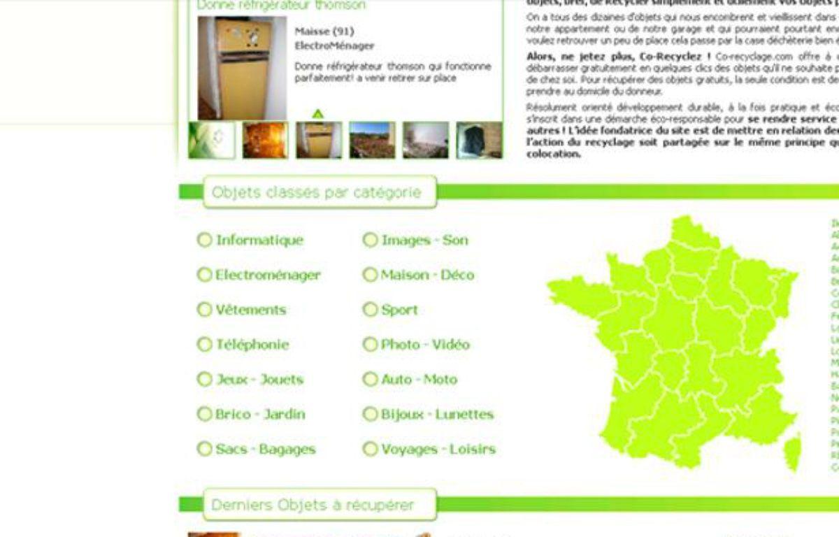 Capture d'écran du site co-recyclage – no credit