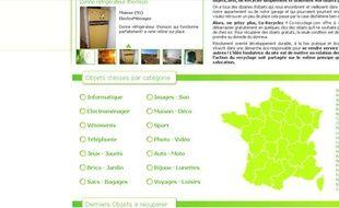 Capture d'écran du site co-recyclage
