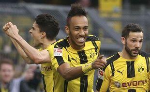 Pierre-Emerick Aubameyang a inscrit un doublé avec Dormtund contre Leverkusen (6-2), le 4 mars 2017.