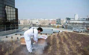 Un apiculteur s'occupe de ses ruches sur le toit végétalisé du centre Beaugrenelle à Paris le le 4 avril 2013