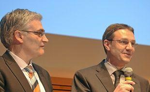 Patrick Tavaris et Pablo Oliver, lors de la remise du prix, jeudi au Corum.