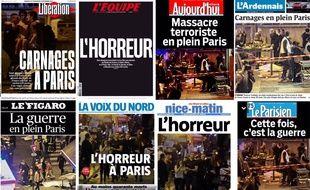 Les unes de la presse française en date du 14 novembre 2015.