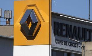 Le logo de Renault à l'usine de Choisy-le-Roi, le 29 mai 2020.