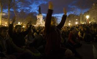"Le mouvement ""Nuit Debout"" place de la République à Paris le 10 avril 2016"
