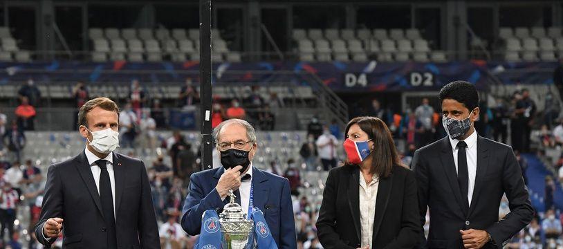 Noël Le Graët lors de la remise du trophée fin juillet 2020 au Stade de France.