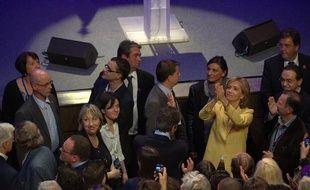 À la Mutualité, les cadres UMP dont Valérie Pécresse, se sont rassemblés pour applaudir leur candidat Nicolas Sarkozy, le 22 avril 2012.