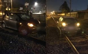 La voiture était coincée sur les rails SNCF.