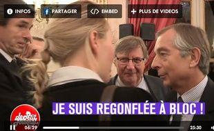 Marion Maréchal-Le Pen s'adressant au journaliste Gilles Leclerc.