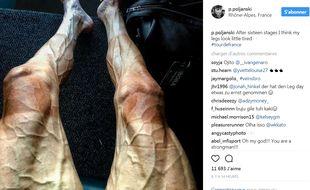 Les jambes de Pawel Poljanski après 16 jours sur le Tour de France.